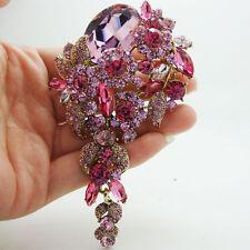 Vintage Pink Flower Cluster Pendant Brooch Rhinestone Crystal Woman Jewelry