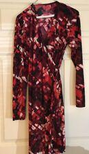 Liz Lange Maternity Red Print Long Sleeve Polyester Wrap Dress Size XS