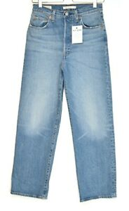 Womens Levis RIBCAGE STRAIGHT High Waisted PREMIUM Blue Stretch Jeans 10 W28 L27