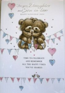 """Cute Bears Holding Champagne On Bunting """"DAUGHTER & SON~IN~LAW"""" Anniversary Card"""