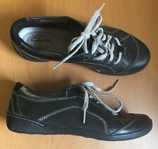 Women's Privo by Clarks Black Leather Tan Casual Lace Up Tennis US 6 M Shoes