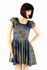 EXTRA SMALL Velvet Oil Spill Holographic Cap Sleeve Skater Dress Ready To Ship!