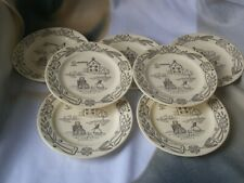 Set of 7 Bucks County by Royal Sebring OH 1950s  6 1/4 inch Bread Plates