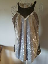 GORGEOUS ALL SAINTS SEQUIN PARTY SILVER JADA VEST TOP, SIZE UK10,EU38,US 6 NWOT