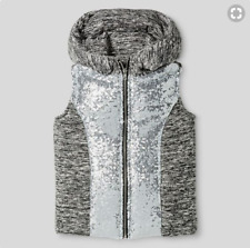 Miss Chievous Girls Size Large Gray & Silver Sequin Puffer Vest with Hood NWT
