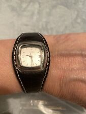 Fossil F2 ES-9732 Leather Ladies Watch W/ Sq Silver Tone Face