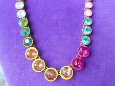Betsey Johnson Authentic NWT Gold-Tone Multi-Color Faceted Stone Necklace