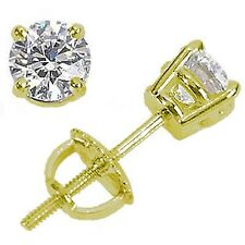 1.80ct ROUND diamond stud earrings 14K  YELLOW GOLD K COLOR SI2 NATURAL
