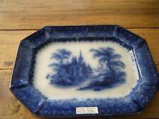 Antique Deep Dark Flow Blue Platter TJ Mayer Arabesque Pattern 19th Century 13.5