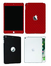 Textured carbon skin cover for iPad, black, white and red, rear and front