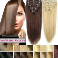 110g 8pcs Full Head 12''~22'' Clip In Virgin Remy 100%Real Human Hair Extensions