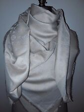 Authentic  LV monogram  Louis  Vuitton shine scarf shawl beige with silver