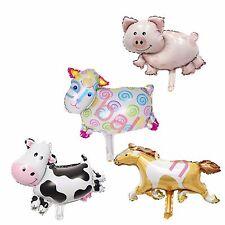 """4 Mini Farm Animal Foil Balloons 34cm X 38cm or 14"""" X 12"""" Cow Sheep Pig Horse"""