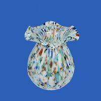 "Venetian Art Glass Bulbous Vase Blue Multicolor Confetti Ribbed Ruffled Rim 7"""