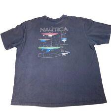 NAUTICA Mens Grahic T Shirt Boating Boat Construction Black Front Pocket Sz XXL