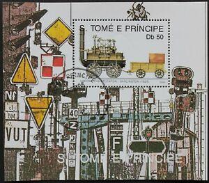 """Sao Tome e Principe: Michel Block-Nr. 232 """"Histor. Dampfloks"""" aus 1990, gest."""