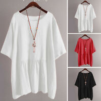 ZANZEA Womens Summer Plain Basic Tee T-Shirt Short Sleeve Top Plus Size Blouse