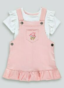 Ex Matalan Baby Girls Pink Floral Heart Pinafore Dress & Top Outfit  9 12 18 24