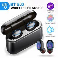 Waterproof TWS Earpiece Bluetooth V5.0 Earbuds Headphone Wireless Stereo Headset