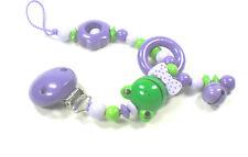 Schnullerkette  ohne Namen Frosch Baby Mädchen lila flieder grün