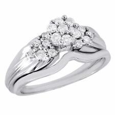 Diamond Wedding Bridal Set 10K White Gold Cluster Engagement Ring 0.33 Ct