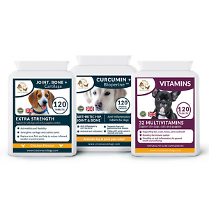 Joint & Arthritis Dog Supplement Bundle, Glucosamine, Curcumin + Multivitamin