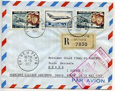 PREMIERE LIAISON AERIENNE PARIS BERNE 15 MAI 1957 / RECOMMANDE / FOIRE DE PARIS