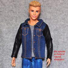 Barbie Doll Fashion Clothes Black Natural Sheepskin Jean Jacket For KEN Dolls