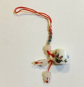 Red String Strap Charm for Cell Phone, Handfan in design of Porcelain Teacup