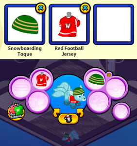 RETIRED 2009 Webkinz 2-pc Clothing Lot: Snowboarding Toque & Red Football Jersey
