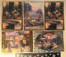 Glitter Hallmark CHRISTMAS Cards(5 Pack/4 Designs)~THOMAS KINKADE with Envelopes