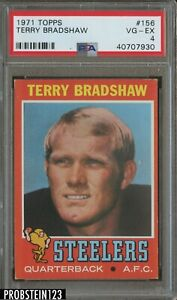 1971 Topps Football #156 Terry Bradshaw Steelers RC Rookie HOF PSA 4 VG-EX
