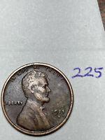 1915-S LINCOLN WHEAT CENT, rare date, fine condition #225