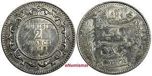 Tunisia Muhammad V Silver 1334 (1916) A 2 Francs aUNC KM# 239 (18 908)