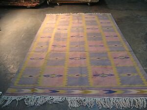 Vintage Cotton Dhurry Dhurrie HandMade Kilim Rug 5'-4 x 8'-5 Finely Hand Woven
