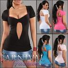 SEXY SHORT SLEEVE WOMENS TOP casual summer ladies skin tight T SHIRT blouse AU s