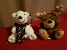 Lot Of 2/Nwt Coca Cola Bean Bag Plush Polar Bear & Reindeer (Rare) 1998