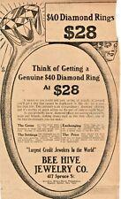 Bee Hive Jewelry - $28 Dollar Diamond Rings - 1913 - Tribune-Republican Ad