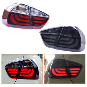 For BMW 3 Series E90 2005-2008 Dark/Red LED Tail Lights Replace OEM Rear Lamps
