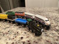 Lot of 8 Toys R Us Imaginarium Wooden Bullet Trains Thomas & Brio Tracks