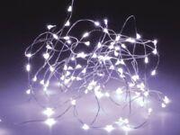 LED-Lichterkette, Silberdraht, 100 LEDs, kaltweiß, Batteriebetrieb