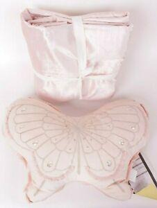 Pottery Barn Kids Shimmer Velvet FQ full queen blush duvet & butterfly pillow