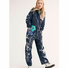 Free People Rialto Jean Project Hand Painted Vintage Jumpsuit Size Small