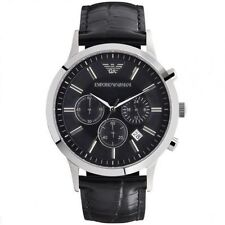 Emporio Armani AR2447,Black Dial Chronograph Leather Strap Watch for Mens