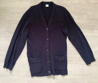 Vintage Cardigan Navy Blue Long Sleeves Size 24- 26 Button Down Cable