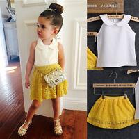 2Pcs Baby Girls Kid Toddler Summer T-shirt Tops Clothes+Short Dress Skirt Outfit