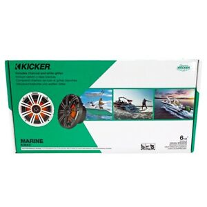 """NEW PAIR Kicker 45KM654L Marine Audio Boat 6.5"""" Coaxial Speakers  7 Color LED"""