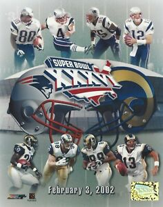 Tom Brady New England Patriots Super Bowl 36 8x10 Collage with St. Louis Rams