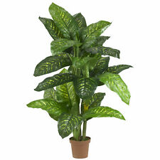 Dieffenbachia Silk Plant Real Touch Home Realistic Nearly Natural 5' Decor
