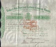 Original Brazil UK GB 1858 Bahia San Francisco Railway Company £20 Uncancelled